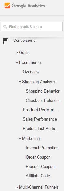 Product Performance Google Analytics