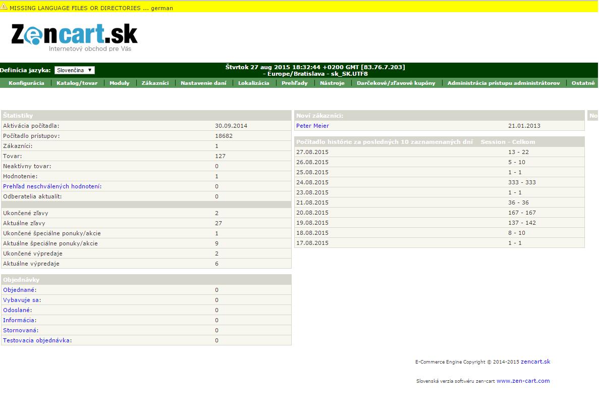 Zencart.sk administracia